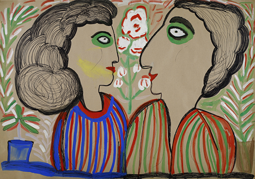 Outsider art : Staničić Matija : Lovers (glances, smiles, anticipation, love, loyalty, joy)