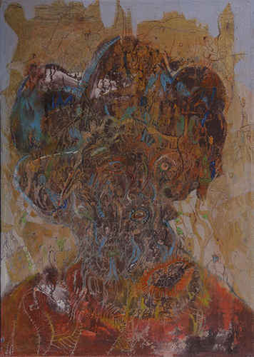 Outsider art : Simonović Igor : Self-portrait (hotchpotch, thoughts, nightmares, anxiety, passion, energy, charge)