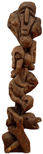 Outsider art : Aleksic Dragutin : Mountain Traveller (burden;effort;support;danger;uncertainty)